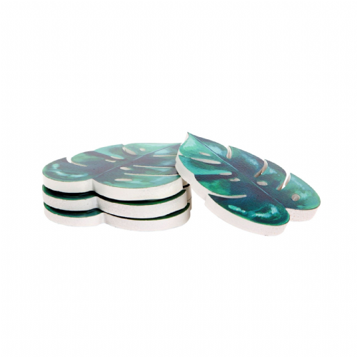 Monstera Leaf Botanical Green Coasters Set Of 4 Coffee Table Accessory